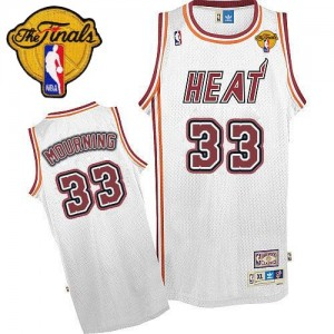 Miami Heat Alonzo Mourning #33 Throwback Finals Patch Authentic Maillot d'équipe de NBA - Blanc pour Homme