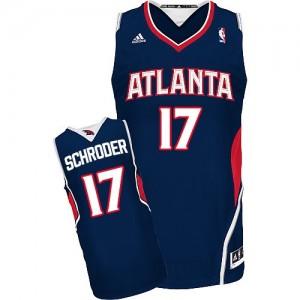 Maillot NBA Atlanta Hawks #17 Dennis Schroder Bleu marin Adidas Swingman Road - Homme