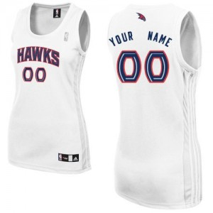 Maillot NBA Blanc Authentic Personnalisé Atlanta Hawks Home Femme Adidas