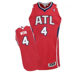 Maillot Adidas Rouge Alternate Authentic Atlanta Hawks - Spud Webb #4 - Homme
