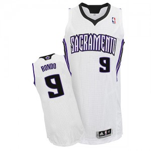 Maillot NBA Sacramento Kings #9 Rajon Rondo Blanc Adidas Authentic Home - Homme