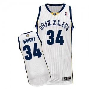 Memphis Grizzlies Brandan Wright #34 Home Authentic Maillot d'équipe de NBA - Blanc pour Homme