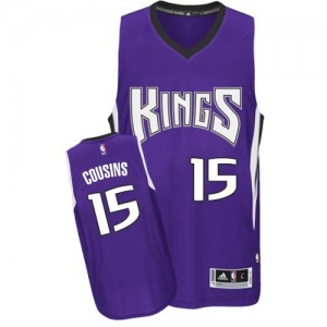 Maillot NBA Sacramento Kings #15 DeMarcus Cousins Violet Adidas Authentic Road - Homme