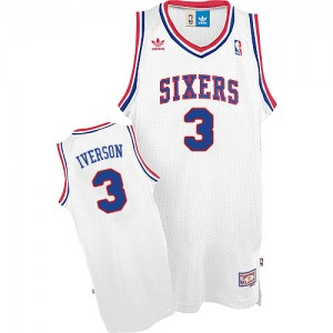 Maillot NBA Swingman Allen Iverson #3 Philadelphia 76ers Throwack Blanc - Homme
