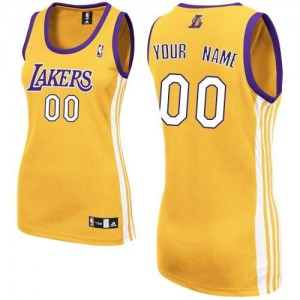 Los Angeles Lakers Authentic Personnalisé Home Maillot d'équipe de NBA - Or pour Femme