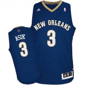 Maillot NBA Authentic Omer Asik #3 New Orleans Pelicans Road Bleu marin - Homme
