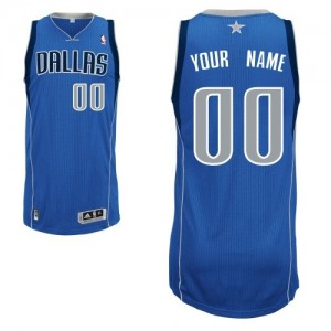 Maillot Adidas Bleu royal Road Dallas Mavericks - Authentic Personnalisé - Homme