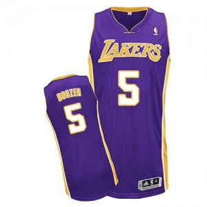 Maillot NBA Violet Carlos Boozer #5 Los Angeles Lakers Road Authentic Homme Adidas