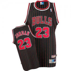 Maillot NBA Authentic Michael Jordan #23 Chicago Bulls Throwback Noir Rouge - Homme