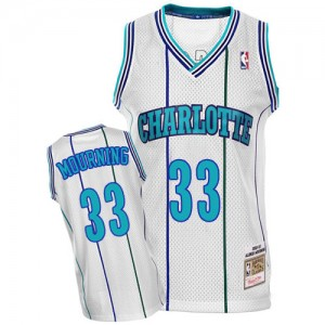 Maillot NBA Charlotte Hornets #33 Alonzo Mourning Blanc Mitchell and Ness Authentic Throwback - Homme