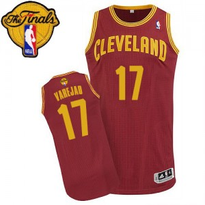 Maillot NBA Vin Rouge Anderson Varejao #17 Cleveland Cavaliers Road 2015 The Finals Patch Authentic Homme Adidas