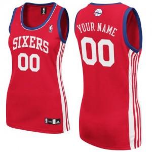 Philadelphia 76ers Authentic Personnalisé Road Maillot d'équipe de NBA - Rouge pour Femme