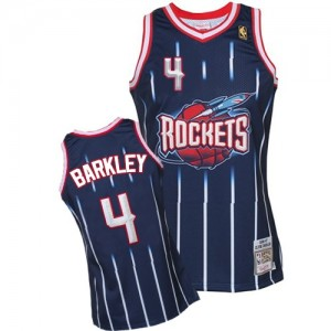 Houston Rockets Mitchell and Ness Charles Barkley #4 Hardwood Classic Fashion Authentic Maillot d'équipe de NBA - Bleu marin pour Homme
