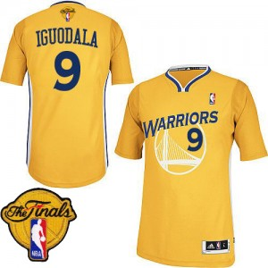 Maillot Authentic Golden State Warriors NBA Alternate 2015 The Finals Patch Or - #9 Andre Iguodala - Homme