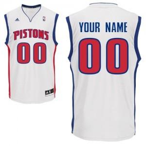 Detroit Pistons Personnalisé Adidas Home Blanc Maillot d'équipe de NBA Remise - Swingman pour Homme