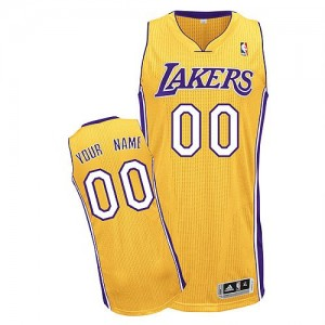 Los Angeles Lakers Authentic Personnalisé Home Maillot d'équipe de NBA - Or pour Homme