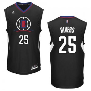 Maillot NBA Los Angeles Clippers #25 Austin Rivers Noir Adidas Authentic Alternate - Homme