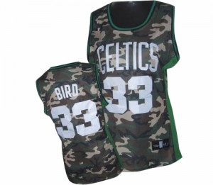 Maillot NBA Boston Celtics #33 Larry Bird Camo Adidas Swingman Stealth Collection - Femme