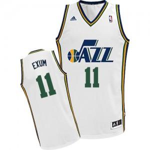 Maillot NBA Blanc Dante Exum #11 Utah Jazz Home Swingman Homme Adidas