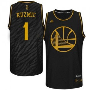Maillot NBA Golden State Warriors #1 Ognjen Kuzmic Noir Adidas Swingman Precious Metals Fashion - Homme