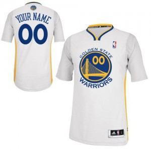 Maillot NBA Golden State Warriors Personnalisé Authentic Blanc Adidas Alternate - Enfants