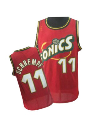 Maillot NBA Rouge Detlef Schrempf #11 Oklahoma City Thunder Throwback SuperSonics Authentic Homme Adidas