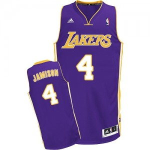Maillot NBA Los Angeles Lakers #4 Byron Scott Violet Adidas Swingman Road - Homme