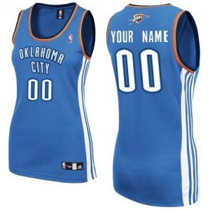 Maillot Adidas Bleu royal Road Oklahoma City Thunder - Authentic Personnalisé - Femme