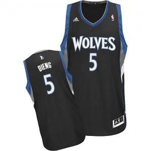 Minnesota Timberwolves #5 Adidas Alternate Noir Swingman Maillot d'équipe de NBA Prix d'usine - Gorgui Dieng pour Homme