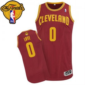 Maillot NBA Cleveland Cavaliers #0 Kevin Love Vin Rouge Adidas Authentic Road 2015 The Finals Patch - Enfants