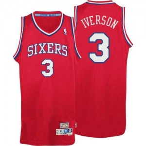 Philadelphia 76ers Allen Iverson #3 Throwack Authentic Maillot d'équipe de NBA - Rouge pour Homme