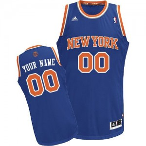 Maillot NBA Bleu royal Swingman Personnalisé New York Knicks Road Homme Adidas