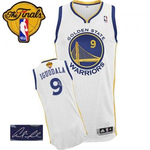 Maillot NBA Authentic Andre Iguodala #9 Golden State Warriors Home Autographed 2015 The Finals Patch Blanc - Homme