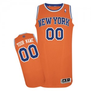 Maillot NBA Orange Authentic Personnalisé New York Knicks Alternate Homme Adidas
