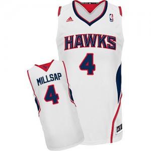 Maillot NBA Atlanta Hawks #4 Paul Millsap Blanc Adidas Swingman Home - Homme