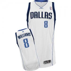 Maillot NBA Dallas Mavericks #8 Deron Williams Blanc Adidas Authentic Home - Femme