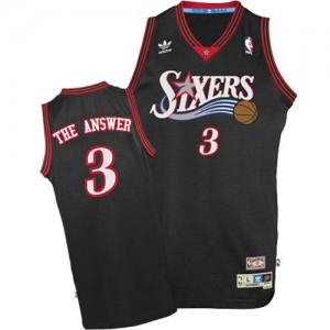 "Maillot Mitchell and Ness Noir ""The Answer"" Throwback Authentic Philadelphia 76ers - Allen Iverson #3 - Homme"
