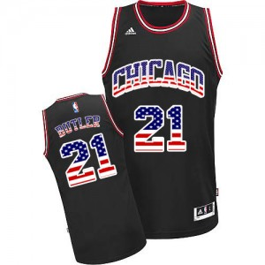 Maillot NBA Chicago Bulls #21 Jimmy Butler Noir Adidas Authentic USA Flag Fashion - Homme