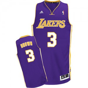 Los Angeles Lakers #3 Adidas Road Violet Swingman Maillot d'équipe de NBA pas cher - Anthony Brown pour Homme
