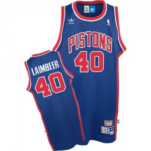Maillot NBA Detroit Pistons #40 Bill Laimbeer Bleu Adidas Authentic Throwback - Homme