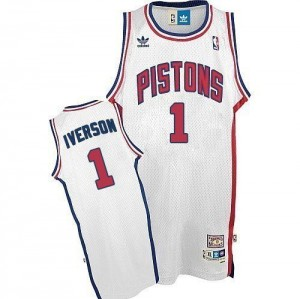 Maillot Authentic Detroit Pistons NBA Throwback Blanc - #1 Allen Iverson - Homme