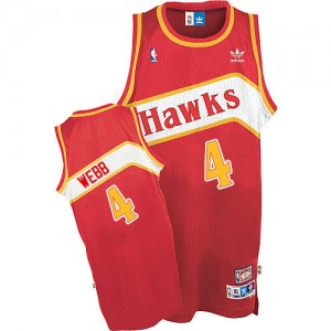 Atlanta Hawks Spud Webb #4 Throwback Authentic Maillot d'équipe de NBA - Rouge pour Homme