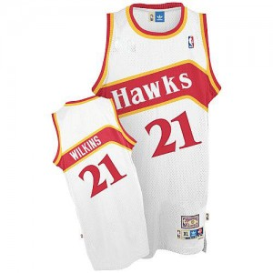 Maillot NBA Blanc Dominique Wilkins #21 Atlanta Hawks Throwback Authentic Homme Adidas