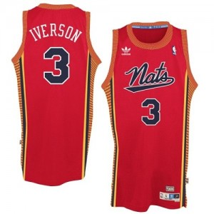 "Maillot Adidas Rouge Throwback ""Nats"" Authentic Philadelphia 76ers - Allen Iverson #3 - Homme"