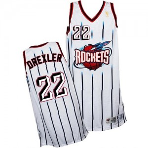 Maillot NBA Authentic Clyde Drexler #22 Houston Rockets Throwback Blanc - Homme