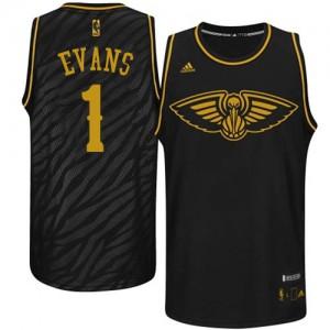 Maillot NBA New Orleans Pelicans #1 Tyreke Evans Noir Adidas Authentic Precious Metals Fashion - Homme
