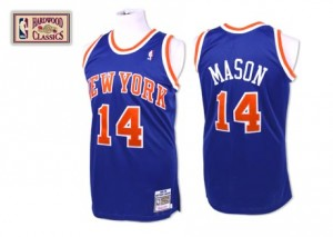 Maillot NBA New York Knicks #14 Anthony Mason Bleu royal Mitchell and Ness Authentic Throwback - Homme