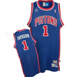 Detroit Pistons Allen Iverson #1 Throwback Authentic Maillot d'équipe de NBA - Bleu pour Homme