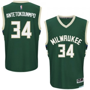 Maillot Authentic Milwaukee Bucks NBA Road Vert - #34 Giannis Antetokounmpo - Homme