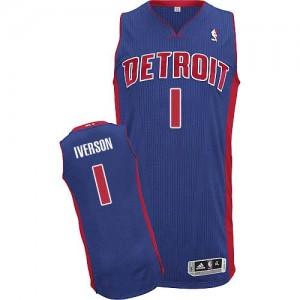 Detroit Pistons #1 Adidas Road Bleu royal Authentic Maillot d'équipe de NBA pour pas cher - Allen Iverson pour Homme